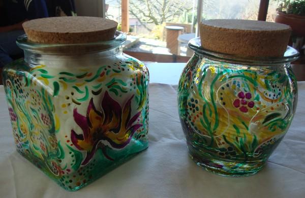 Peinture sur autre support en verre for Pot a coton salle de bain